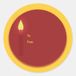 Vit för kyrka för stearinljus för julgåvamärkre runt klistermärke