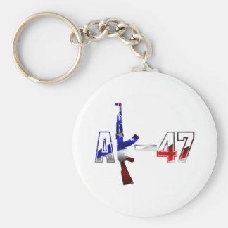 Vit för logotyp för AK-47 AKM anfallgevär röd och  Rund Nyckelring