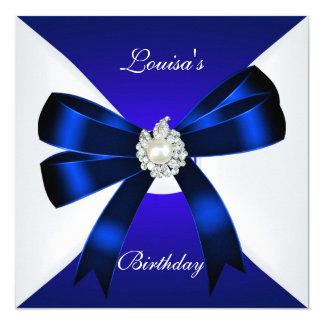 Vit för pärla för blått för elegant fyrkantigt 13,3 cm inbjudningskort