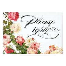 Vit för rosa ros | för romantik för 8,9 x 12,7 cm inbjudningskort