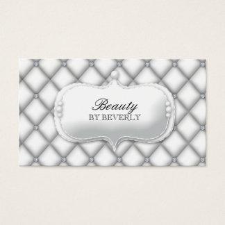 Vit för skönhethårsalongen pryder med pärlor den visitkort