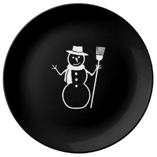 Vit för svarten för kvasten för hatten för porslinstallrik