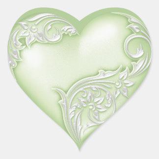 Vit för w för grönt för hjärtarulla mjuk hjärtformat klistermärke