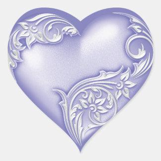 Vit för w för hjärtarullalavendel hjärtformat klistermärke