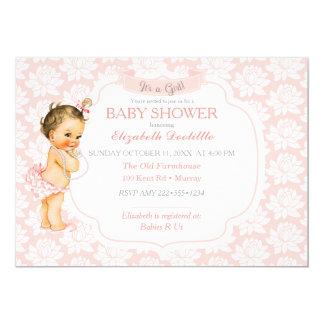 Vit & grått för vintageflicka rosa 12,7 x 17,8 cm inbjudningskort