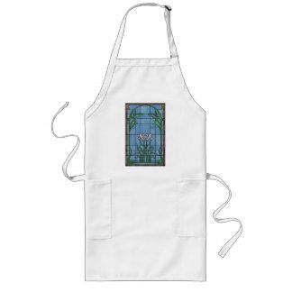 Vit Irises Fauxmålat glassförklädet Långt Förkläde