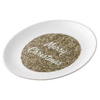 Vit och guld- glitterjultypografi porslinstallrik