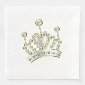Vit och guld- Princess Kröna Papper Servett