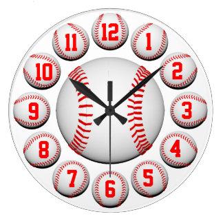 Vit och röd anpassade för baseball #2 stor klocka