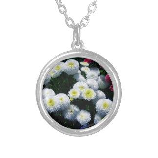 Vit och röda Chrysanthemums Silverpläterat Halsband