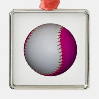 Vit- och rosasoftball julgransprydnad metall