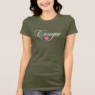 Vit och rosor för T-tröja för pumakärlekdamer T-shirt
