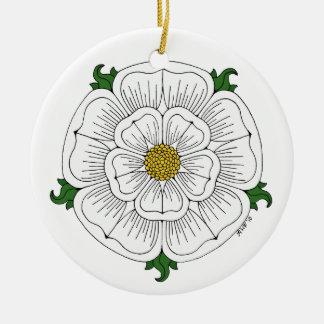 Vit ros av York Julgransprydnad Keramik