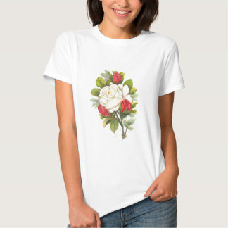 Vit ros med röda knoppar tshirts