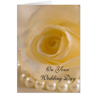 Vit ros och pärlor blandade familjbröllop hälsningskort