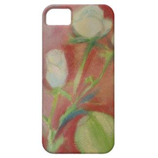 vit ros på rosa bakgrund - olja på papper iPhone 5 cases