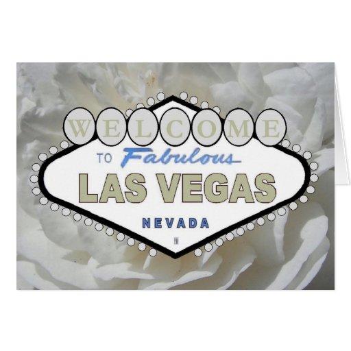 Vit rosvälkomnande till det sagolika Las Vegas Hälsningskort