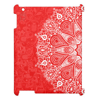 Vit & rött vintagesnöremönster iPad mobil fodral