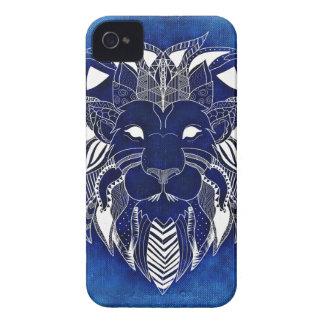 Vit som är lejon med blåttbakgrundsiPhone 4, Case-Mate iPhone 4 Skydd