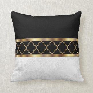 Vit, svart & guld- Quatrefoil & damast Pattern2 Kudde