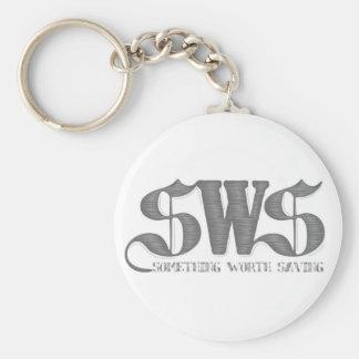 Vit SwS Keychain Rund Nyckelring