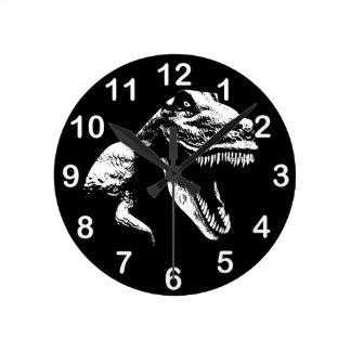 Vit T Rex Rund Klocka