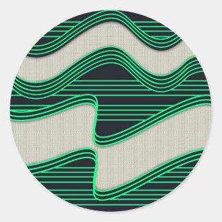 Vit vinkar tyg som den gröna neonlinjer avbildar t runda klistermärken
