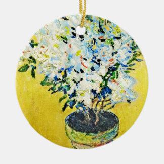 VitAzaleas i en kruka Claude Monet Julgransprydnad Keramik