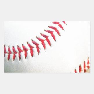 Vitbaseball med rött sy rektangulärt klistermärke