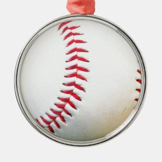 Vitbaseball med rött sy rund silverfärgad julgransprydnad
