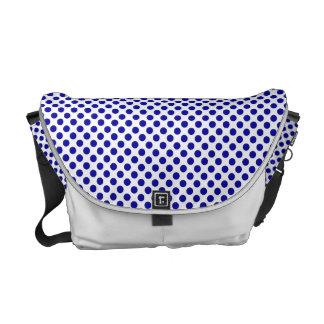 Vitblåttpolka dots - messenger bag