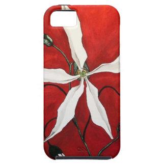 Vitblomma på den röda iphone case iPhone 5 skydd