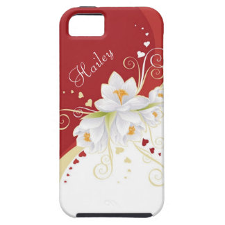 Vitblommor och röda hjärtor iPhone 5 Case-Mate fodral
