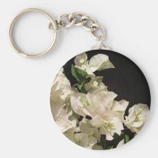 Vitbougainvilleaen blommar Keychain Rund Nyckelring