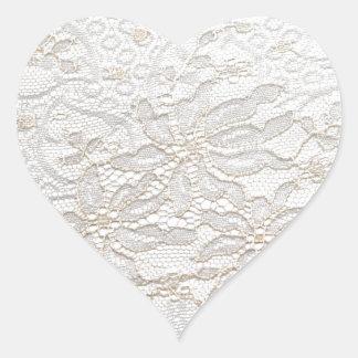 VitChantilly snöre Hjärtformat Klistermärke