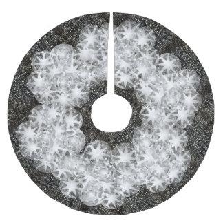 Vitdiamanten dammar av gnistraglitter på svart julgransmatta borstad polyester