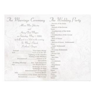 Vitgrungebröllopsprogram Reklamblad