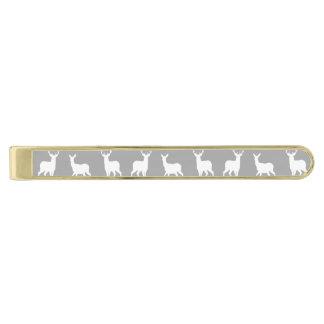 Vithjort- och fullvuxen hankronhjortmönster på grå guldpläterad slipsnål