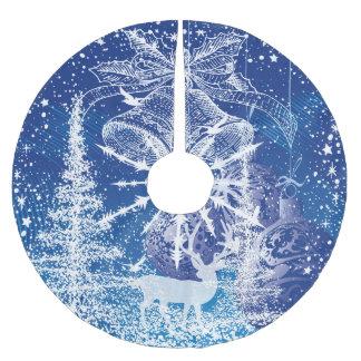 Vitjul Klockor & trädblåttbakgrund Julgransmatta Borstad Polyester