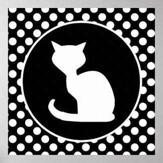 Vitkatt på svartvit polka dots