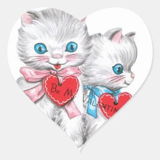 Vitkattungevalentin Hjärtformat Klistermärke
