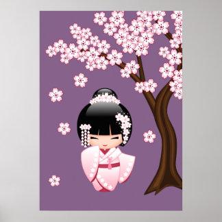 VitKimonoKokeshi docka - gullig Geishaflicka Poster