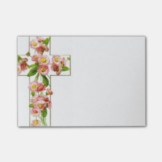 Vitkor med rosa blommor post-it block
