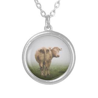 Vitkotjuren tittar tillbaka i ett dimmigt fält silverpläterat halsband