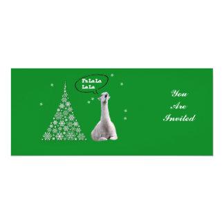 Vitllamaen sjunger julsång: Lama för Fa LaLaLa 10,2 X 23,5 Cm Inbjudningskort