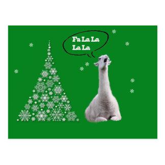 Vitllamaen sjunger julsång: Lama för Fa LaLaLa Vykort