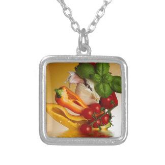 Vitlök för pepparbasilikatomater silverpläterat halsband
