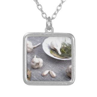 Vitlök och kryddor på en grå tygbakgrund silverpläterat halsband