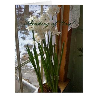 Vitpåskliljar i fönster skräddarsy hälsningkort jumbo kort