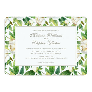 Vitpioner & lövvattenfärg - bröllop 12,7 x 17,8 cm inbjudningskort